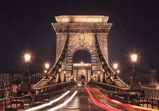 взгляд ночи budapest моста цепной Стоковое Изображение RF