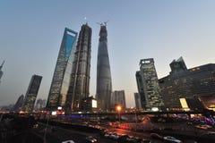 Взгляд ночи Lujazui Шанхая Китая Стоковые Фотографии RF