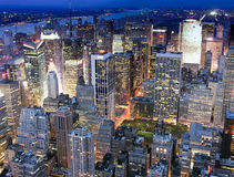 Взгляд ночи New York City Стоковое Изображение RF