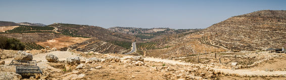 Взгляд обрабатываемой земли, поселение Shilo в Израиле стоковая фотография rf