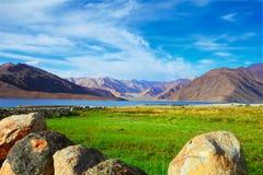 Озеро Pangong, Jammu & Кашмир, северное Индия Стоковые Изображения RF
