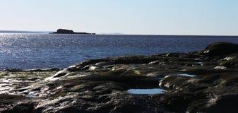 Взгляд океана, на сумраке, ландшафт Стоковое Изображение