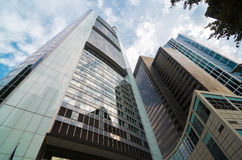 Взгляд организаций бизнеса нижний в Франкфурте, Германии Стоковое Изображение RF