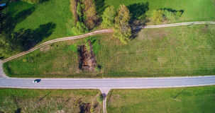 Взгляд дороги и поля верхний горизонтальный Стоковые Изображения
