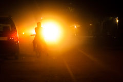 Взгляд дороги на ноче Стоковые Фото