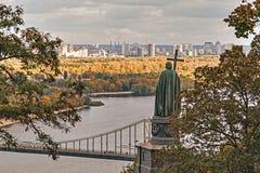 Взгляд осени памятника к Владимиру, Киеву, Украине Стоковое Изображение RF