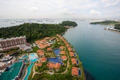 Взгляд острова Sentosa и Сингапура стоковое фото