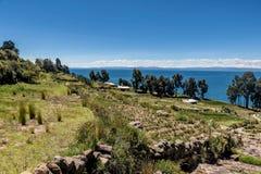 Взгляд острова Taquile около Puno, Перу Стоковые Изображения
