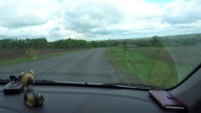 Взгляд от автомобиля, шина окна, поезд Путешествовать видео HD сток-видео