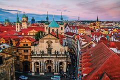 Взгляд от башни Праги на городе Стоковое Изображение RF
