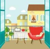 Взгляд от балкона над городком Плоская иллюстрация вектора Стоковое Изображение RF