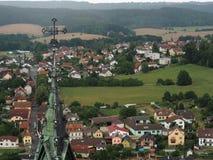Взгляд от верхней части на деревне в южной Богемии Стоковое фото RF
