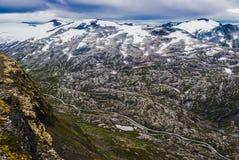 Взгляд от вершины горы Dalsnibba Норвегия Стоковые Изображения RF