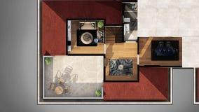 Взгляд от внешней стороны 3D конструировал квартиру Стоковая Фотография