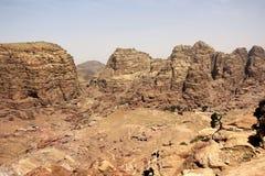 Взгляд от высокого места поддачи в Petra, Джордане Стоковое Изображение