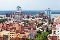 Взгляд от высоты на самаре города, России стоковое фото
