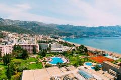 Взгляд от гостиницы на прогулке Becici Стоковое Фото