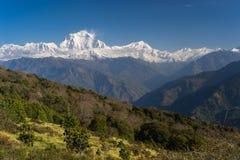 Взгляд от деревни Ghorepani, ABC горного пика Dhaulagiri, Pokha Стоковые Изображения
