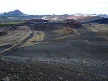 Взгляд от кратера вулкана Hverfjall на Исландии Стоковое Изображение