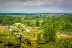 Взгляд от маленькой круглой вершины в Gettysburg, Пенсильвании Стоковые Фотографии RF