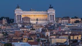 Взгляд от дня ориентир ориентира Pincio к timelapse ночи в Риме, Италии на красивом теплом вечере весны сток-видео