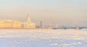 Взгляд от обваловки Адмиралитейства к замороженному Neva Стоковая Фотография