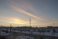 Взгляд от окна к морозной улице Стоковое Изображение