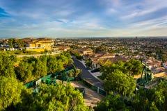Взгляд от парка вершины холма, в холме сигнала, Лонг-Бич Стоковое Изображение RF