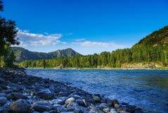 Взгляд от скалистого побережья широких реки и горных видов Стоковая Фотография RF