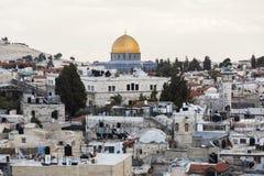 Взгляд от строба Дамаска к городку Иерусалима старому Израиль Стоковое Изображение