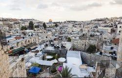 Взгляд от строба Дамаска к городку Иерусалима старому Израиль Стоковая Фотография RF