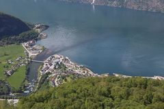 Взгляд от точки зрения Stegastein, Flam, Норвегии Стоковое Фото