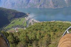 Взгляд от точки зрения Stegastein, Flam, Норвегии Стоковое Изображение