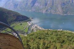 Взгляд от точки зрения Stegastein, Flam, Норвегии Стоковая Фотография RF