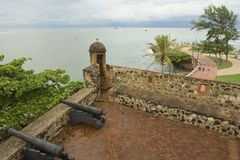 Взгляд от форта San Felipe к взморью в Puerto Plata, Доминиканской Республике Стоковое Изображение