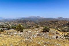 Взгляд от холма Mycenae, Греции стоковая фотография rf