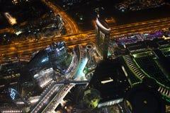 Взгляд от Burj Khalifa к ноче Дубай Стоковое Фото