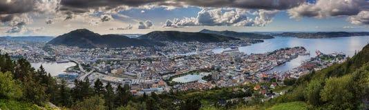 Взгляд от Floien в Бергене, Норвегии Стоковые Фотографии RF