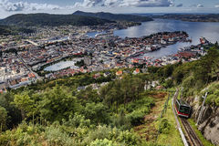 Взгляд от Floyen в Бергене Норвегии Стоковые Изображения