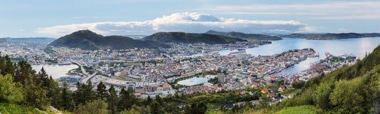 Взгляд от Floyen в Бергене Норвегии Стоковое Фото