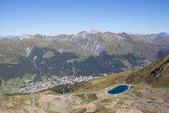 Взгляд от Jakobshorn к ¼ Давос & Давос Graubà озера nden Швейцария Стоковое Изображение