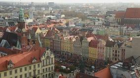 Взгляд от St Элизабета церков, Wroclaw акции видеоматериалы