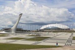 Взгляд олимпийского квадрата в парке Сочи олимпийском Стоковое Фото