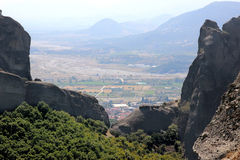 взгляд долины Украины горы Крыма Горный вид thessaly Горы Thessaly Kalambaka Взгляд долины Стоковые Изображения RF