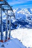 Взгляд долины Meribel Станция подъема Верхней части Шага du Lac лыжа курорта Стоковое Фото