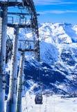 Взгляд долины Meribel Станция подъема Верхней части Шага du Lac Стоковое фото RF