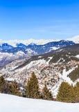 Взгляд долины Meribel Центр деревни Meribel (1450 m) Стоковое фото RF