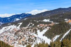 Взгляд долины Meribel Центр деревни Meribel (1450 m) Стоковое Изображение