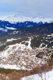 Взгляд долины Meribel Центр деревни Meribel (1450 m) Стоковые Фото