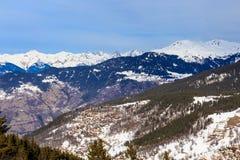 Взгляд долины Meribel Центр деревни Meribel (1450 m) Стоковое Фото